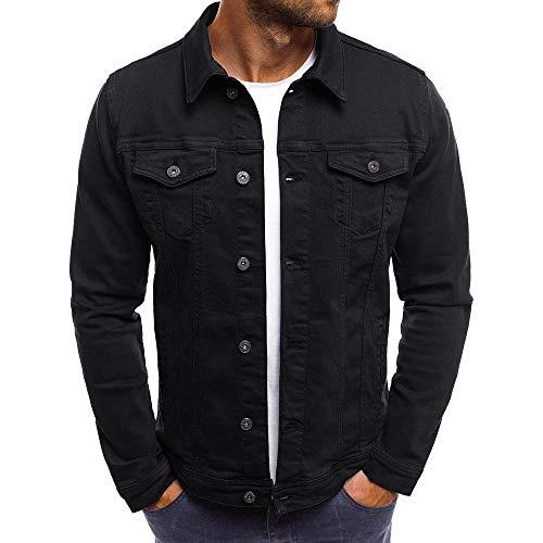 KPILP Herrenmode Herbst Winter Taste Einfarbig Vintage Jeansjacke Tops Bluse Mantel Outwear Langarm-Shirt(Schwarz, XL)