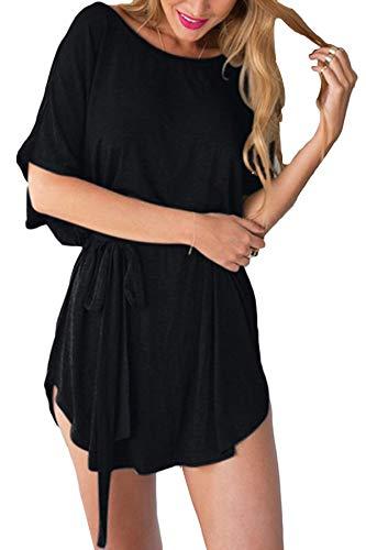 YOINS Femmes Robe Courte Sexy Dress Chic Mini Robe Été Décontractée Chemise Robe Manches Courtes Col Rond Ceinture-Noir EU 48