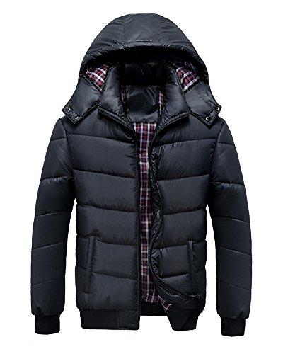 LaoZan Herren Beiläufig Wintermantel Jacke Parka-Mantel mit Kapuze Winter Steppjacke Schwarz