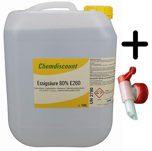 Chemdiscount 10Liter Essigsäure 80% (ca. 10,7kg Inhalt), Lebensmittelqualität E260, INCL. AUSLAUFHAHN