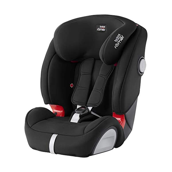 Britax Römer EVOLVA 1-2-3 SL SICT Group 1-2-3 (9-36kg) Car Seat - Cosmos Black  CLICK & SAFE audible harness system for that extra reassurance when securing your child in the seat The padded headrest and harness can easily be adjusted with one hand to suit your child's height performance chest pads - provide comfort and reduce your child's forward movement in a frontal collision 1