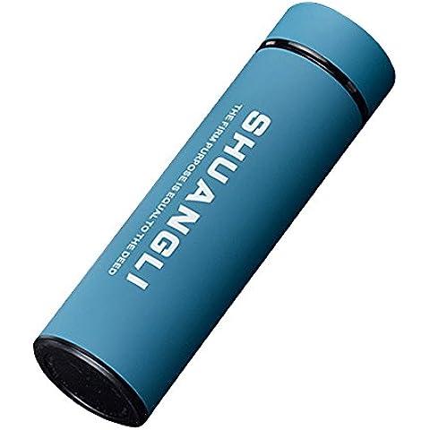Japace® Botella Térmica Termo con Colador Doble Pared de Acero Inoxidable Boca Ancha 380ml (Azul)