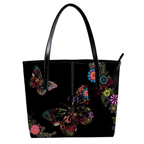 Women's Bag Shoulder Tote handbag with Flowers And Butterflies print Zipper Purse PU Leather Top-handle Zip Bags -