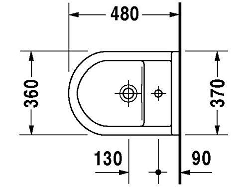 Duravit Wand Bidet Starck 3 Compact 475 mm, 1 Hahnloch, Durafix, weiss, 2281150000