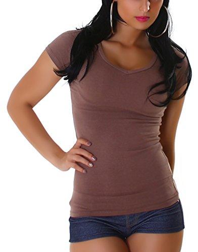Jela London Damen T-Shirt lang Longshirt Basic eng-anliegend einfarbig V-Ausschnitt Kurzarm, Braun 40 (XXL) -