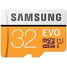 Samsung MicroSDXC EVO - Tarjeta de memoria (MicroSDXC EVO, 32 GB, SDXC, Clase 10, 95 MB/s, UHS-I, 10000 ciclos por sector lógico), Naranja/Blanco
