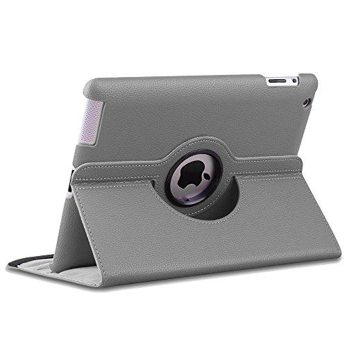 ebestStar - compatibel iPad 4 Hülle Retina, iPad 3, iPad 2 Rotierend Schutzhülle Etui, Schutz Hülle Ständer, Rotating Case Cover Stand, Grau [iPad: 241.2 x 185.7 x 9.4mm, 9.7'']