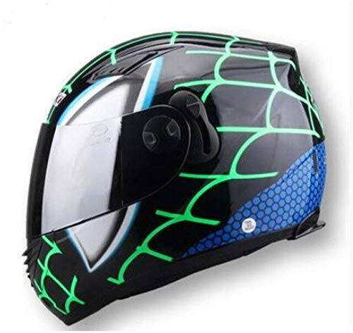 FANHAOWEI Marchio NENKI, Spider-Man Equipaggiamento Protettivo Baby Star Mary Ironman Casco capacete Moto caschi integrali con Due Lenti,A2,S,