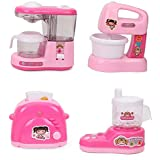 TEMSON Battery Operated Pink Household Home Appliances Kitchen Play Sets Toys for Girls (A)