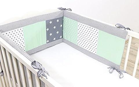 BEBILINO ORIGINAL Tour de lit bébé GRIS MINT (210 x 30 cm)