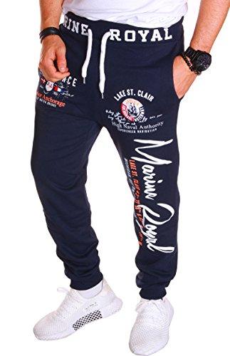 Herren Hose Jogginghose Fitnesshose Marine Royal Sweatpants Hose H. 512 (L Navy)