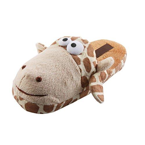 Tierhausschuhe Damen Plüsch Tier Hausschuhe goldig Löwe Giraffe Schlappen Pantoffel Slipper weich Kinder 35-41, TH-GTS Giraffe