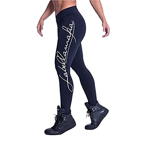 DOLDOA Frauen Sport Gym Yoga Workout Mid Taille Laufen Hosen Fitness Elastische Leggings (EU:36, Schwarz - (Entfernung Von Cellulite)