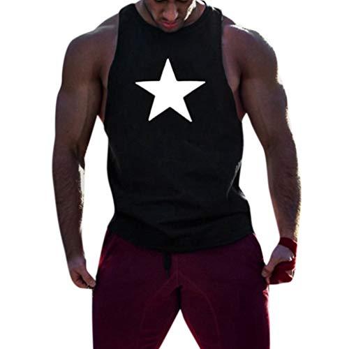 Storerine Men Fitness Muscle Print Ärmellose Bodybuilding-Weste mit Enger Trocknung Oberteile Bluse fünfzackigem Sternendruck für Herren