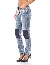 Aniston Skinny Jeans Hose mit dunklen Einsätzen Denim Damen Kurzgröße Blau b292091b46