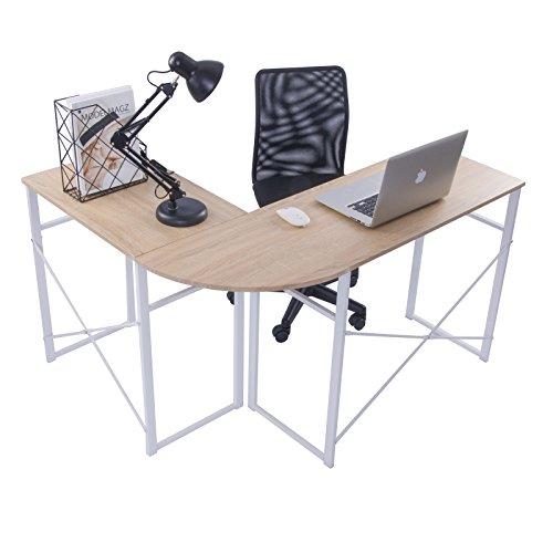 WOLTU® Schreibtisch TSG24hei L-Form Eckschreibtisch Winkelschreibtisch Computertisch Bürotisch Arbeitstisch, aus Holz und Stahl, 83x40x72,5 & 63x40x72,5cm(BxTxH), Holz, Eiche -