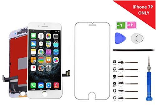 Lcd-touch Screen Protector (Turtlescreen RealTone Ultra Premium Qualität Ersatz Bildschirm für iPhone, in-Cell Touch Digitizer LCD Display mit Glasrahmen Montage Screen Protector, 7 Plus White)