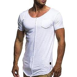 FAMILIZO Camisetas Manga Corta Hombre Moda Camisetas Hombre Tallas Grandes Camisetas Hombre Sport Camisetas Hombre Algodón Camisetas Hombre Verano Camisetas Hombre Largas Tops (2XL, Blanco)