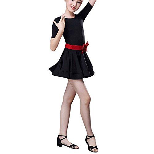 Sllowwa Lateinisches Tanz Kleid Mädchen Kostüm mit Bowknot Gürtel Salsa Tango Rumba Tanz Verschleiß + Leggings Party Tanzkostüm für 2-13 Jahre Kinder Weihnachts Karneval Party Kostüm(Schwarz,160) (Alice Im Wunderland Ritter Kostüm)
