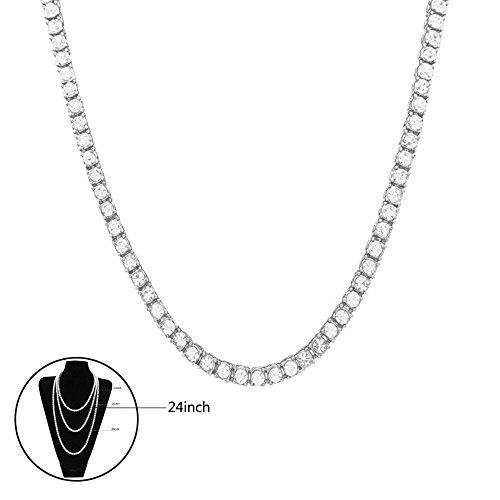 istall Strass Künstliche Diamant 1 Zeile Cuban vergoldet Link Kette Halskette Cosplay Party Verkleiden für Männer und Frauen Silber,24inch ()