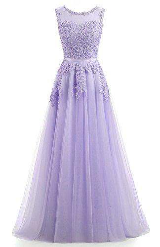 Ever Love A-Linie Lang Spitze T¨¹ll R¨¹ckenfrei Abendkleid Ballkleid Hochzeit Brautjungfernkleid...