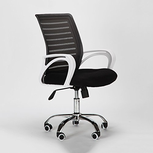 Büro-Aufgaben-Stuhl-Maschen-Schwenker-Computer-Schreibtisch-Stuhl-Lordosenstütze mit den Armen, Weißrückseite (Color : Black) (Arm-drehstuhl)