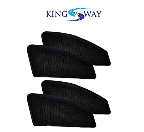 Kingsway Magnetic Sun Shades for Maruti Suzuki New Baleno (Set of 4, Black, Without Zipper, Cotton Mesh Fabric)