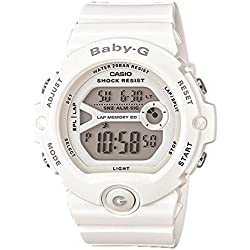 CASIO Women's Quartz Watch with White Dial Digital Display and White Resin Strap BG-6903-7BER