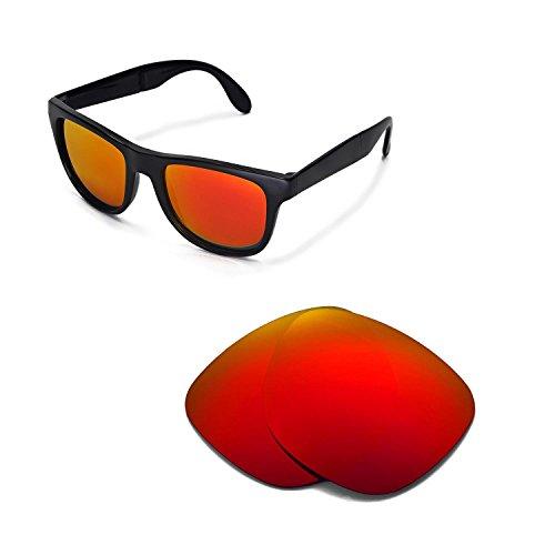 Walleva Ersatzgläser für Ray-Ban Wayfarer RB4105 54mm Sonnenbrille - Mehrfache Optionen (Feuerrot Mirror Coated - Polarisiert)