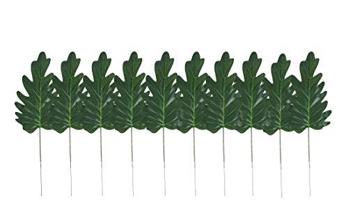 ailinda 10 Künstliche Tropical Palm Blätter Pflanze für DIY Hawaiian Luau Jungle Strand Thema Party Hochzeit Garten Decor Tisch Dekoration, plastik, grün, E