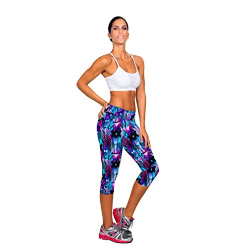 Koly Women's High Waist Fitness Yoga Sport Pants Printed Stretch Cropped Trousers