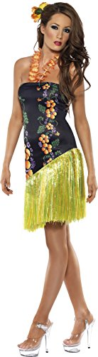 Preisvergleich Produktbild Smiffys, Damen Luscious Luau Kostüm, Kleid mit Blumenketten-Neckholder, Größe: M, 34148