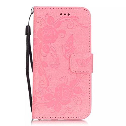 iPhone Case Cover Gemaltes Farbenmuster-Mappenartkasten magnetisches entwerfen Flipfolio PU-Lederabdeckung standup Abdeckungsfall für iPhone 6s 6 plus 5.5 Zoll ( Color : Blue , Size : IPhone 6s Plus ) Pink