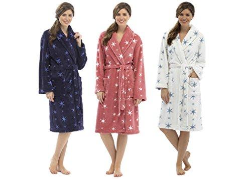 Robe de chambre avec ceinture - longue - polaire - femme Navy with Blue Stars