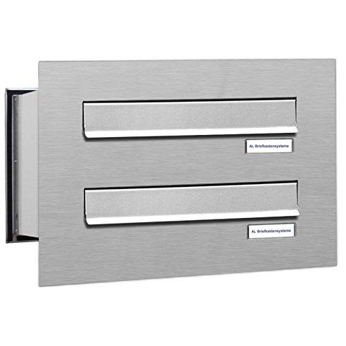 AL Briefkastensysteme 2er Briefkasten Mauerdurchwurf in V2A Edelstahl, 2 Fach DIN A4, wetterfeste Premium Briefkastenanlage Postkasten
