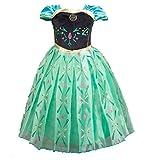 Cacilie® Prinzessin Kostüm Kinder Glanz Kleid Mädchen Weihnachten Verkleidung Karneval Party Halloween Fest (140( Körpergröße 140cm), Anna #06)