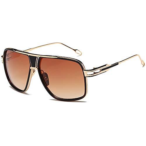 SHEEN KELLY Retro Große Sonnenbrille Piloten Oversized Super Damen Großen Square Brille Metall Rahmen für Herren Gold/Silber Transparente Spiegel Linsen