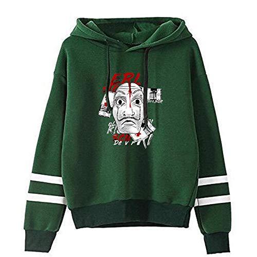 La Casa de Papel Pullover Beiläufige Sport-Sweatshirt Mode Sweatshirt mit Kapuze Pullover UnisexHoodie Multiple Color Unisex (Color : Green02, Size : XXL)