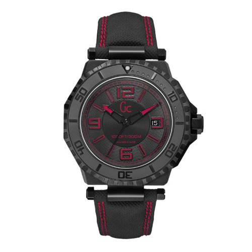 Guess Collection Men's Black Nylon Band IP Steel Case Sapphire Crystal Quartz Analog Watch X79007G2S