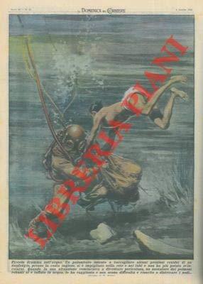 Palombaro intento a raccogliere alcuni residui di un naufragio si impiglia nella rete e nei tubi e viene salvato da un nuotatore.