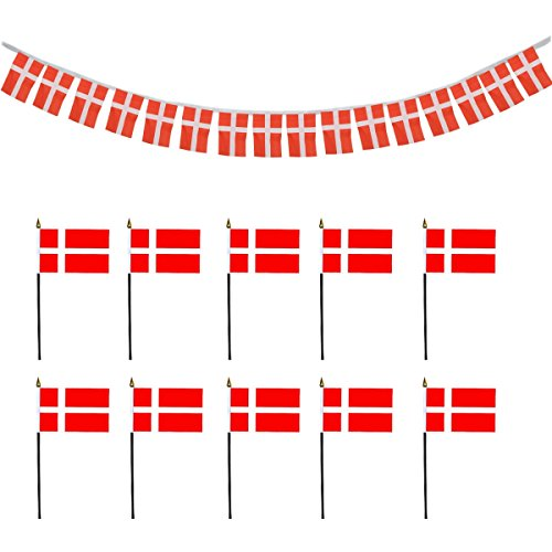 Sonia Originelli Fan-Paket-16 National WM Fußball Fan Teilnehmer Girlande Handflaggen Farbe Dänemark