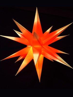 Leuchtstern Stern Innenstern 3D Weihnachtsstern Papierstern Adventsstern Adventstern Faltstern (rot-gelb -mit elektr. Beleuchtung)