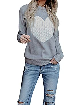 ZORE Mujeres Casual sólido Largo Manga Jersey Amor suéter Suelto Jersey Tops Women Sweater
