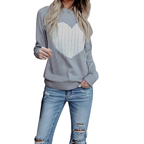 KUDICO Damen Sweater Runder Hals Liebe Lange Ärmel locker gestrickte Pullover Sweatshirt Bluse T Shirt Tops, Angebote! (Grau, EU-40/CN-L) -