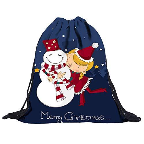 Frohe Weihnachten3D Digital Print Bouquet Tasche Rucksack Kordelzug A, Malloom Vlies Taschen Kordelzug Frauen Tasche 3D Digitaldruck Bouquet Pocket Rucksack