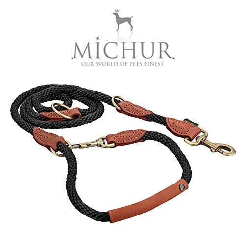 Michur Sherpa Hundeleine Black Stone Führleine rund gewebt aus Nylon Tau mit robustem Leder verstärkt, 3-Fach verstellbar, in verschiedenen Größen erhältlich