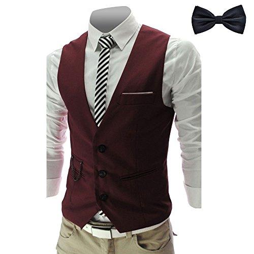 YaoDgFa Herren Weste Anzug + Fliege Smoking Sakko Anzugweste Herrenweste Herrenanzug slim fit Hochzeit feierlich Elegant, Wein Rot, S -