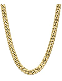 ICE CARATS 14k Yellow Gold 11mm Miami Cuban Chain Necklace 26 Inch Curb Fine Jewelry Gift Set For Women Heart