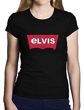 """OKAPY Camiseta original para mujer Una camiseta negra con """"ELVIS"""", imitando la marca Levis. Camiseta friki de..."""