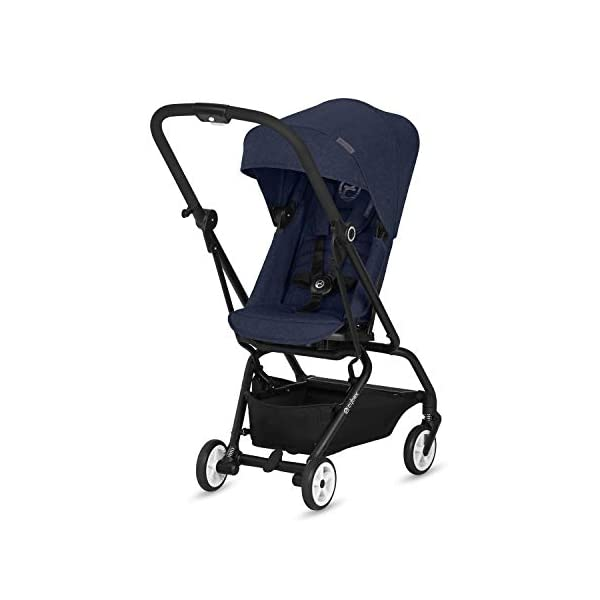 CYBEX Gold Eezy S Twist Compact Pushchair, 360° Rotatable Seat Unit, Ultra-Compact, From Birth to 17 kg (approx. 4 years), Denim Blue Cybex Sturdy, High-quality Compact Pushchair for newborns up to approx. 17 kg (approx. 4 years) with unique rotatable seat unit - Including rain cover for optimum use in all weather conditions Quick and easy change of direction with 360° rotatable seat unit, Comfortable sitting position thanks to stepless adjustable reclining backrest with lie-flat position, Puncture proof tyres and all-terrain wheel suspension Simple folding with one-hand folding mechanism for compact travel size (LxWxH: 26 x 45 x 56 cm), Extremely manoeuvrable due to narrow wheelbase, Can also be used as 3-in-1 travel system with separately available CYBEX and gb infant carriers and the baby cocoon S (sold separately) 1